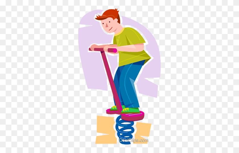 Boy On A Pogo Stick Royalty Free Vector Clip Art Illustration - Pogo Stick Clipart