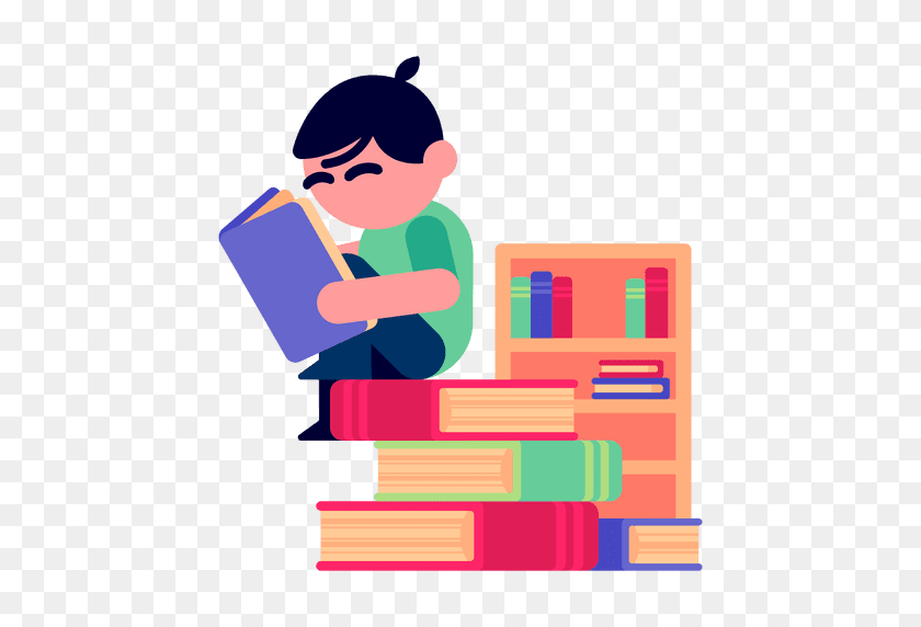 Boy Reading Books Illustration - Reading PNG