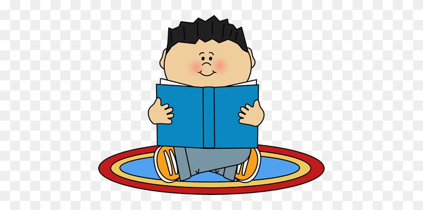 Boy Reading On A Rug Clip Art - Rug Clipart