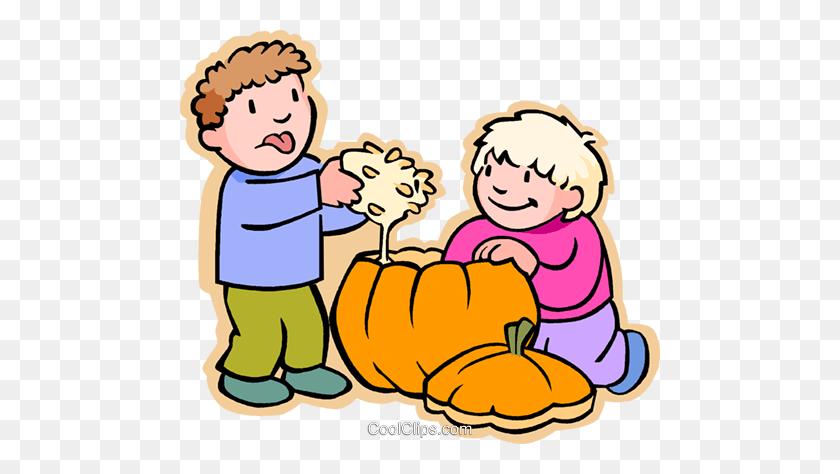 Boys Carving Halloween Pumpkin Royalty Free Vector Clip Art - Pumpkin Carving Clipart