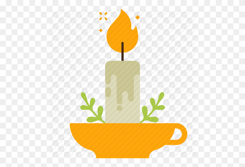 Branch, Candle, Candle Light, Decoration, Easter, Flame Icon - Candle Flame PNG