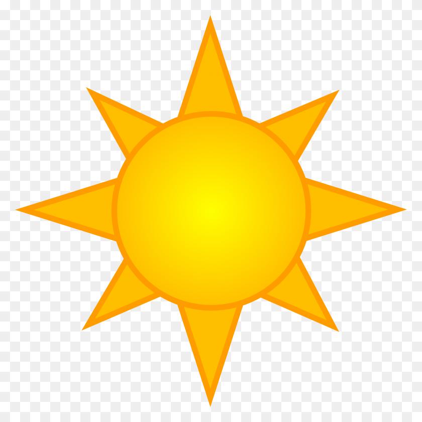 Bright Yellow Sun Symbol - Summer Clipart Free