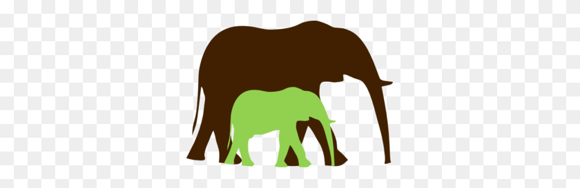 Brown And Green Mom And Baby Elephant Clip Art - Mom And Baby Elephant Clipart