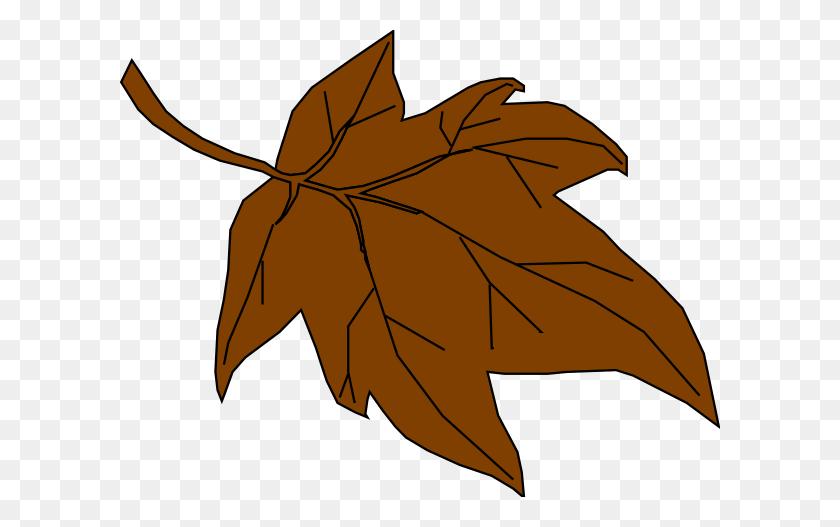 Brown Autumn Leaf Clip Art - Brown Leaf Clipart