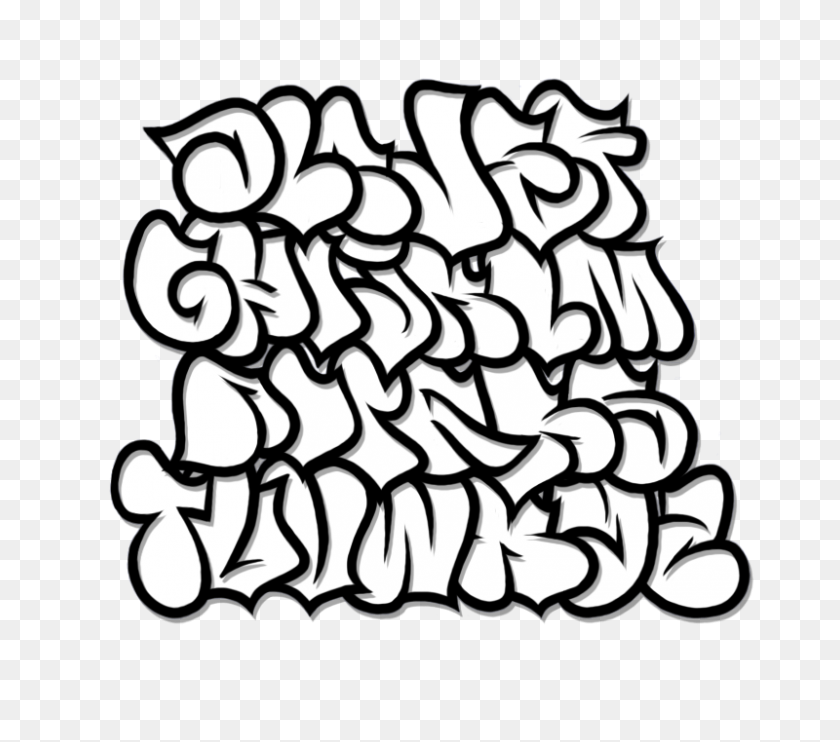 Bubble Graffiti Alphabet Letter Az - Letter T Clipart Black