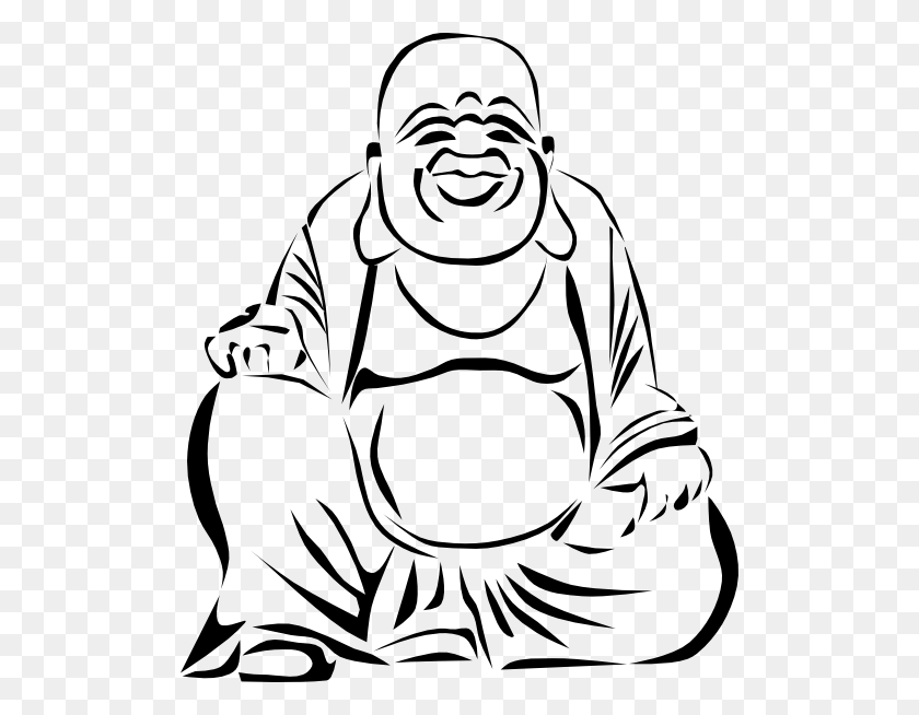510x594 Buddha Cliparts - Mat Clipart Black And White