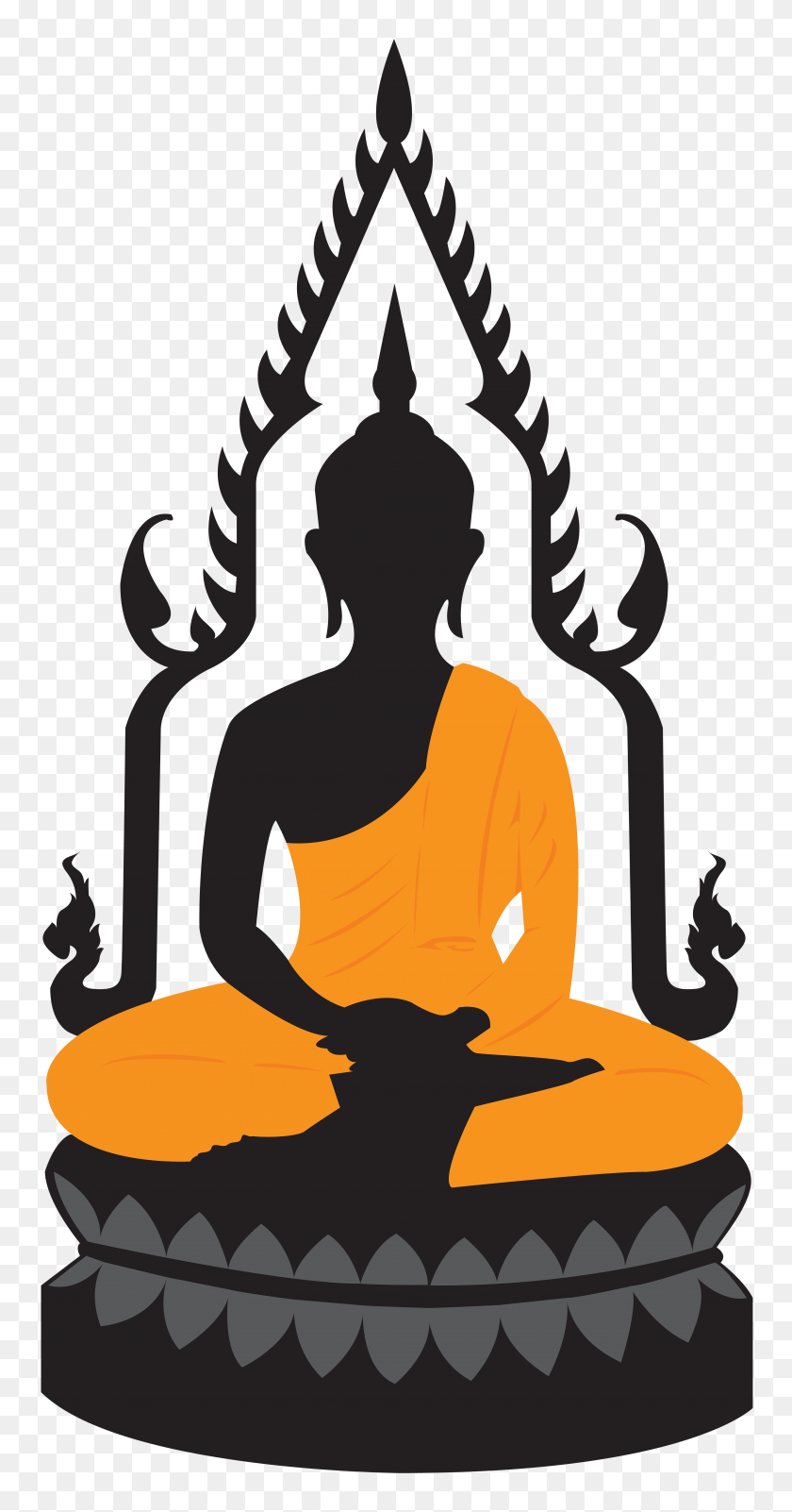 Buddha Lotus Statue Png Clip Art - Worship Clipart Black And White