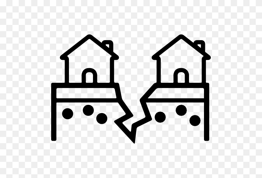 Buildings, Ground, Earthquake, Cracked, Homes, Disaster, Houses Icon - Earthquake Clipart