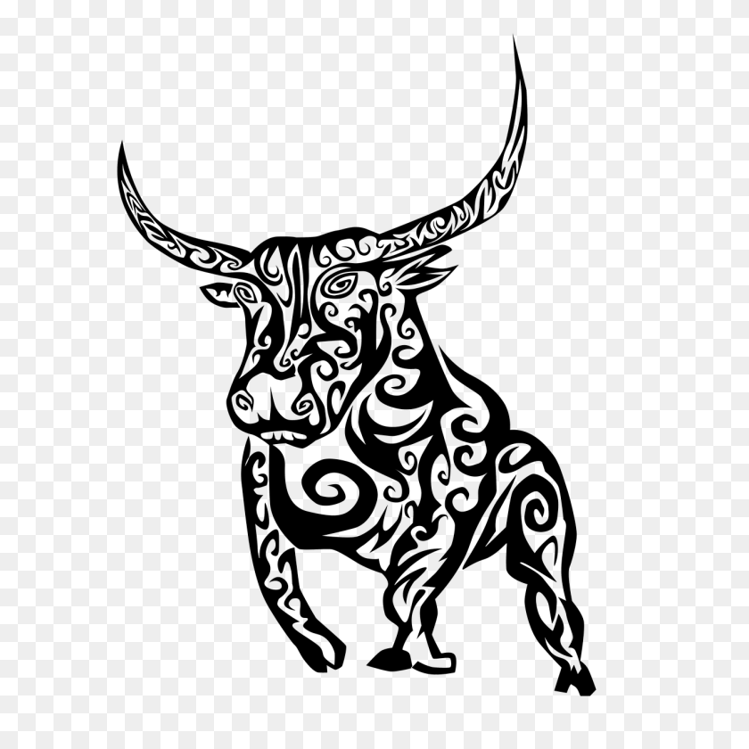 Bull, Tribal, Tribal Bull, Black, Outline - Tribal Clipart Black And White