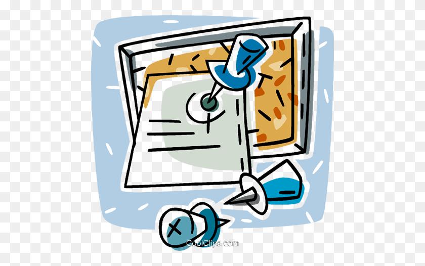 Bulletin Board With Tacks Royalty Free Vector Clip Art - Bulletin Board Clipart