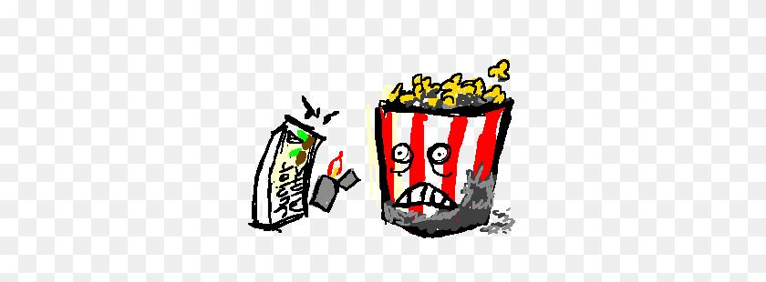 Burnt Popcorn Bucket Looks Scared Drawing - Popcorn Bucket Clipart