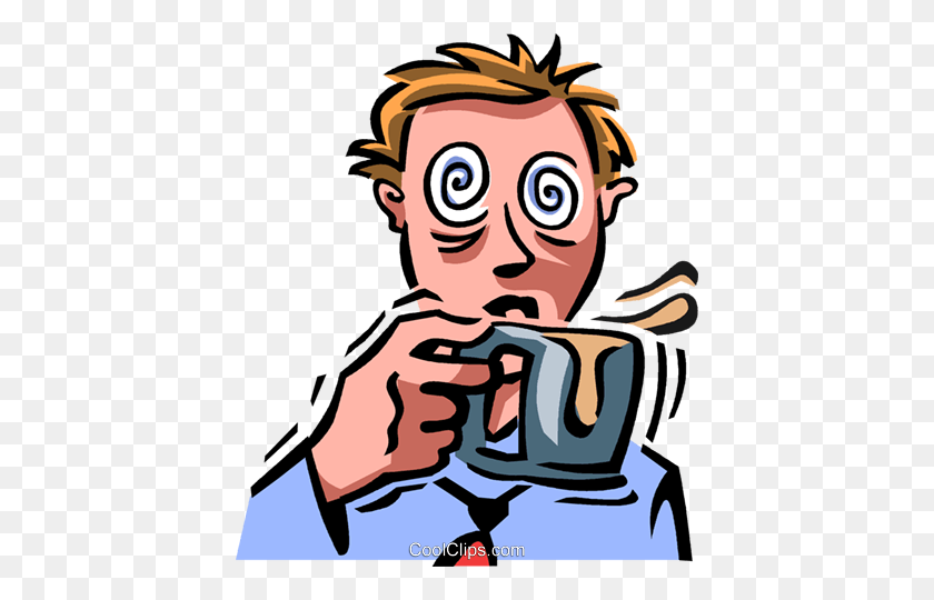 Businessman Having To Much Caffeine Royalty Free Vector Clip Art - Man Drinking Coffee Clipart