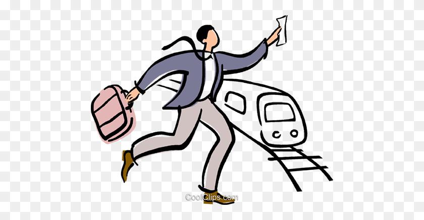 Businessman Running To Catch A Train Royalty Free Vector Clip Art - Men Running Clipart