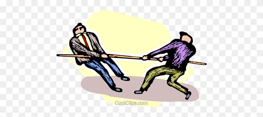 Businessmen Doing A Tug O War Royalty Free Vector Clip Art - Tug Clipart