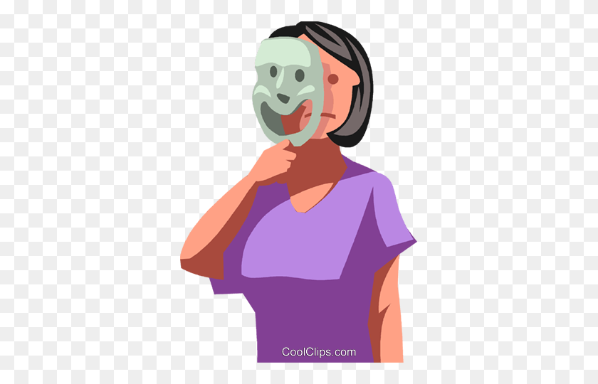 Businesswoman Hiding Behind A Mask Royalty Free Vector Clip Art - Medical Assistant Clipart