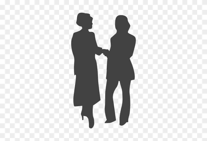 Businesswomen Shaking Hands Silhouette - Shaking Hands PNG