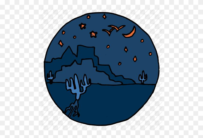 Cactus, Desert, Fort, Landscape, Night, Sky, Stars Icon - Night Sky PNG