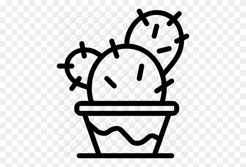 Cactus, Flower, Garden, Plant, Soil Icon - Flower Garden Clipart Black And White