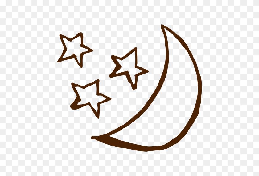 Camping Stars And Moon Hand Drawn Icons - Moon And Stars PNG