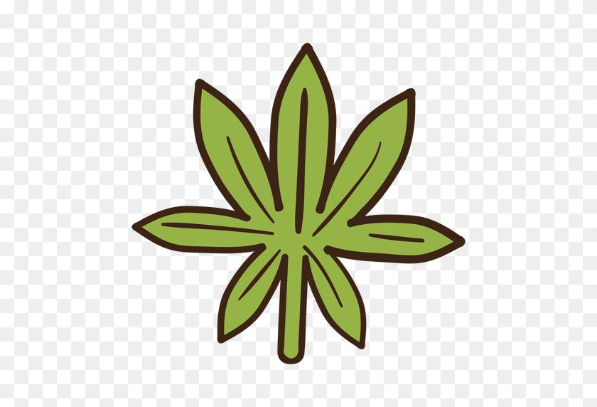 512x512 Cannabis Leaf Colored Doodle - Marijuana Leaf PNG
