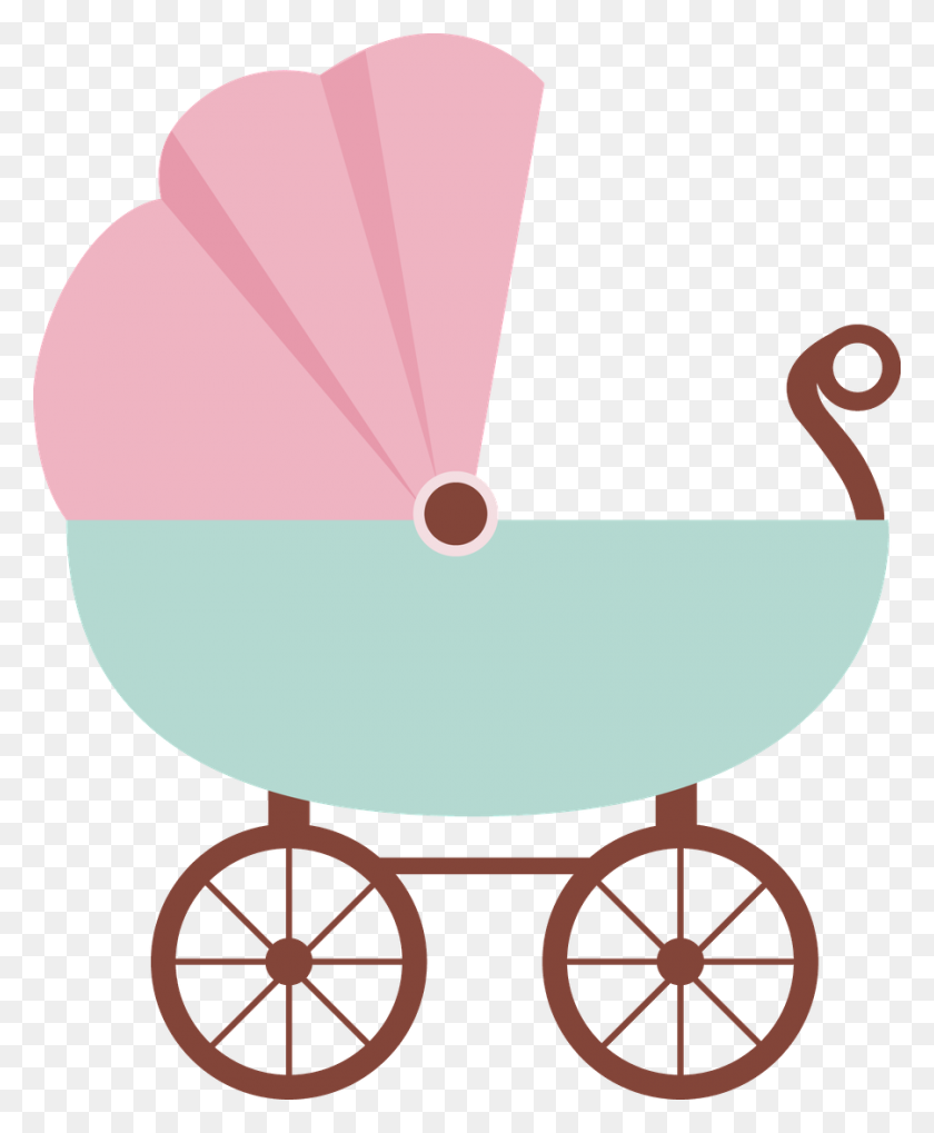 Carriage Clipart Cute - Pink Baby Clipart
