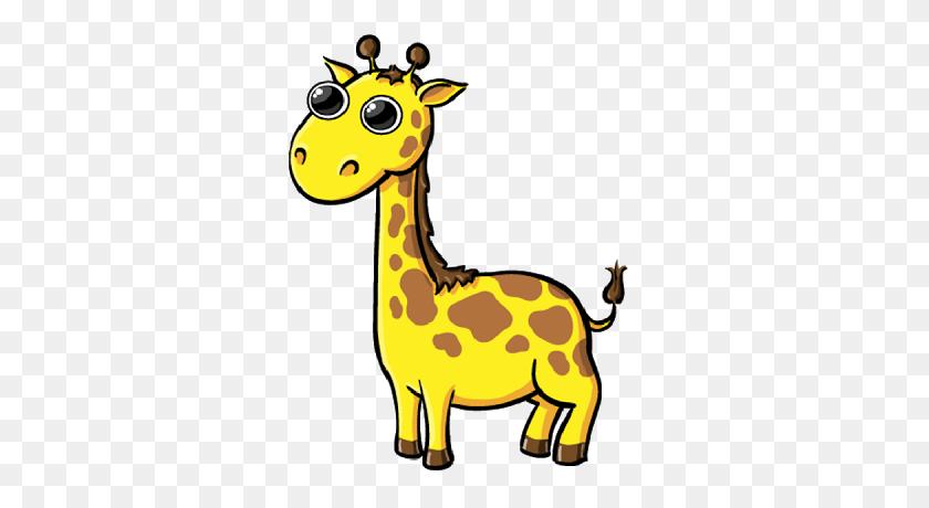Cartoon Baby Giraffe Group With Items - Baby Giraffe Clip Art