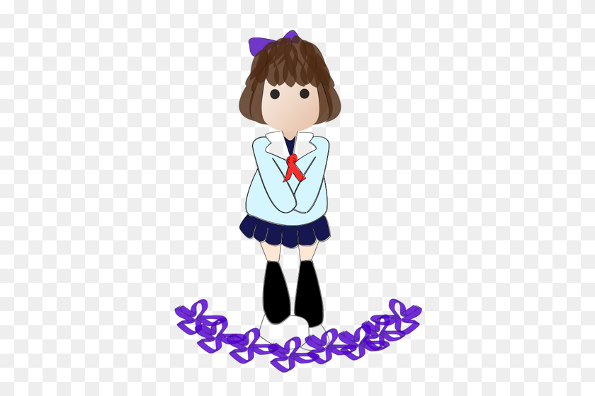 Cartoon Boy Girl Clip Art - School Girl Clipart