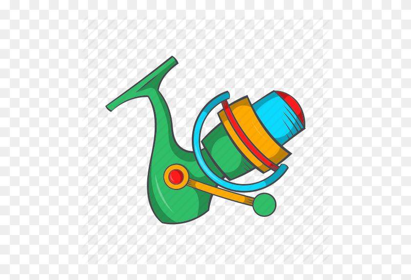 Cartoon, Catch, Equipment, Fishing, Reel, Rod, Sign Icon - Fishing Reel Clipart