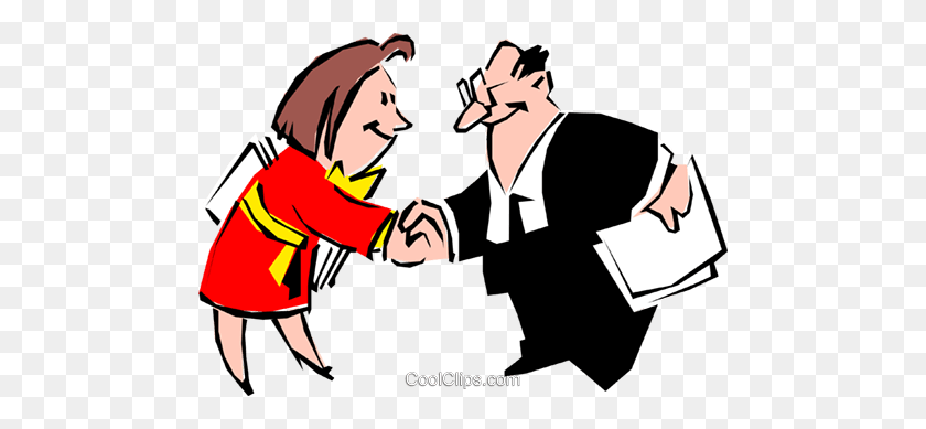 Cartoon Executives Royalty Free Vector Clip Art Illustration - Agreement Clipart