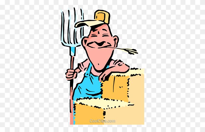 Cartoon Farmer With Pitch Fork Royalty Free Vector Clip Art - Farmer Clipart Images