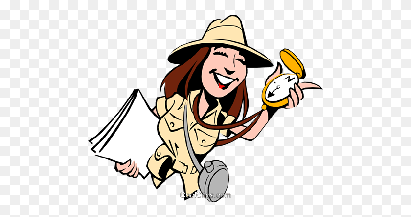 Cartoon Female Adventurer Royalty Free Vector Clip Art - Adventurer Clipart