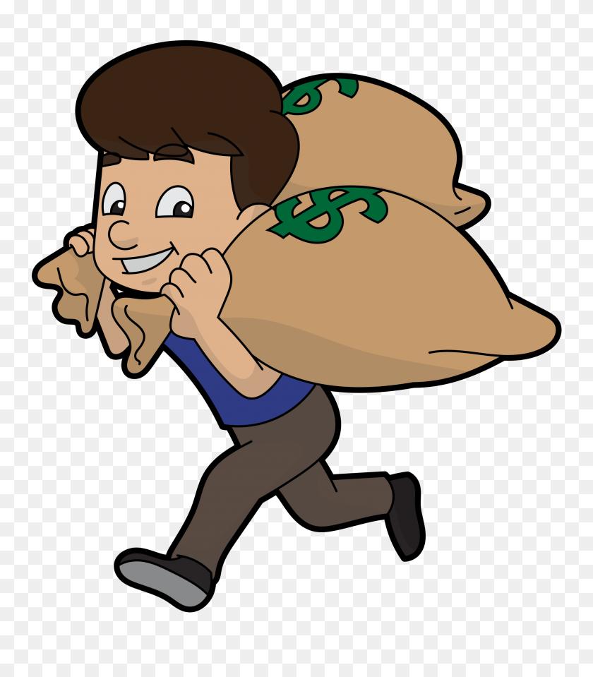 Cartoon Guy Runs Away With Bags Of Money - Money Bags PNG