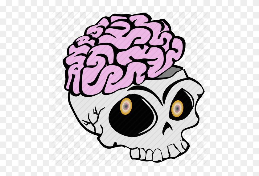 Cartoon, Haloween, Skeleton, Skull, Spooky Icon - Cartoon Skull PNG