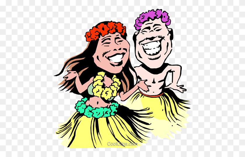 Cartoon Hoola Dancers Royalty Free Vector Clip Art Illustration - Clipart Skirt