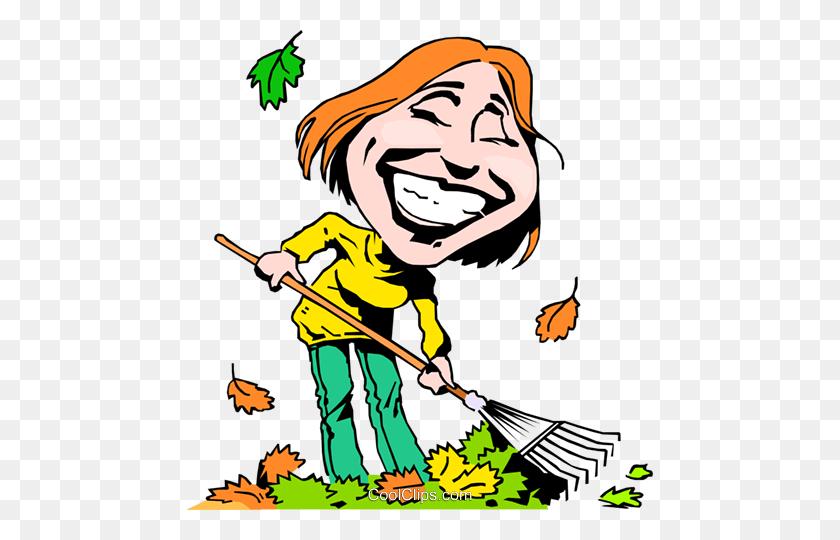 Cartoon Lady Raking Leaves Royalty Free Vector Clip Art - Raking Leaves Clipart