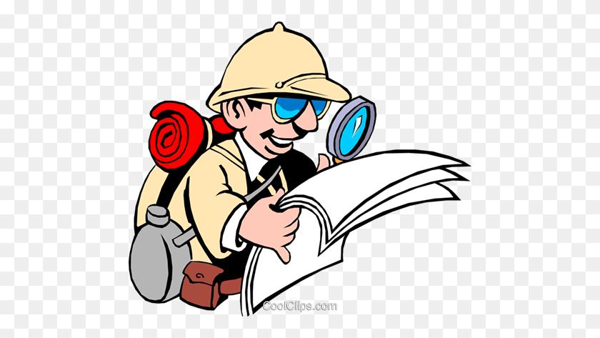 Cartoon Male Adventurer Royalty Free Vector Clip Art Illustration - Adventurer Clipart