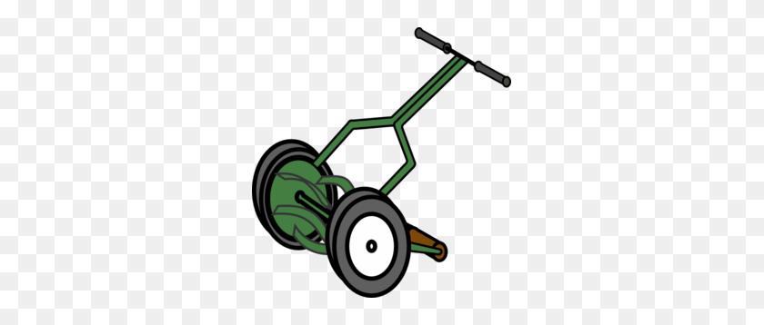 Cartoon Push Reel Lawn Mower Clip Art - Mowing Grass Clipart