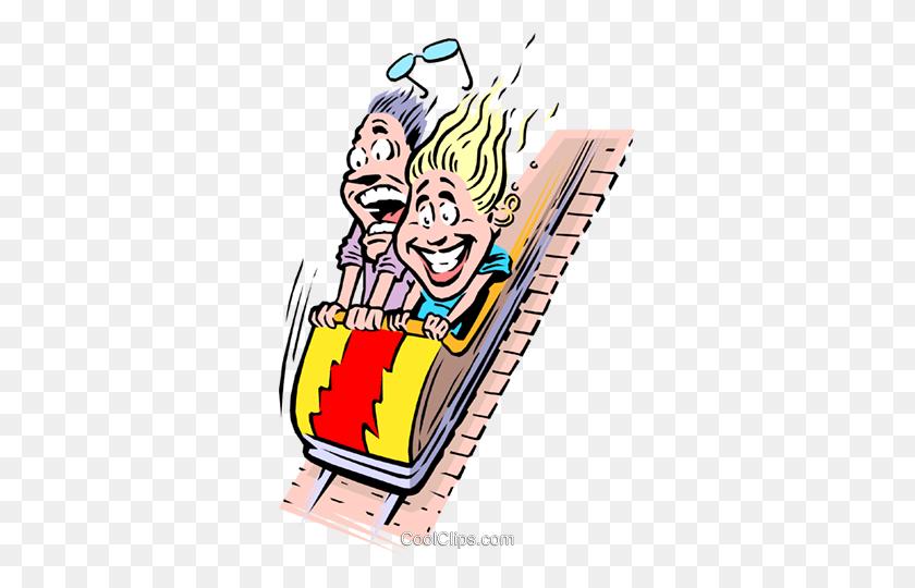 Cartoon Roller Coaster Royalty Free Vector Clip Art Illustration - Roller Coaster Clipart
