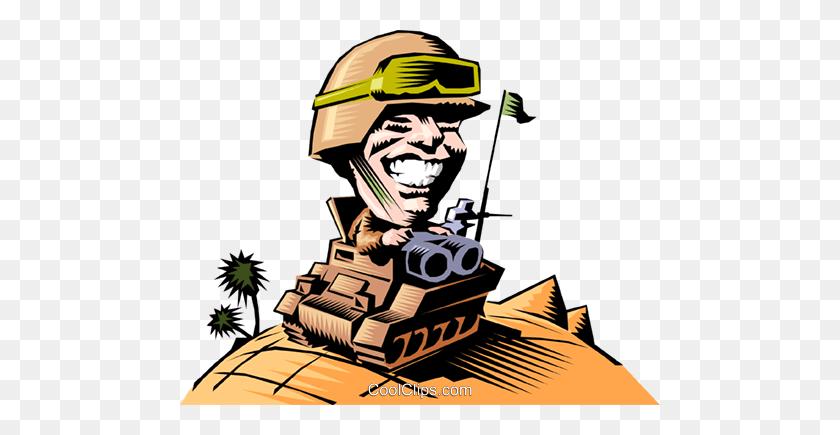 480x375 Cartoon Tank Commander Royalty Free Vector Clip Art Illustration - Artillery Clipart