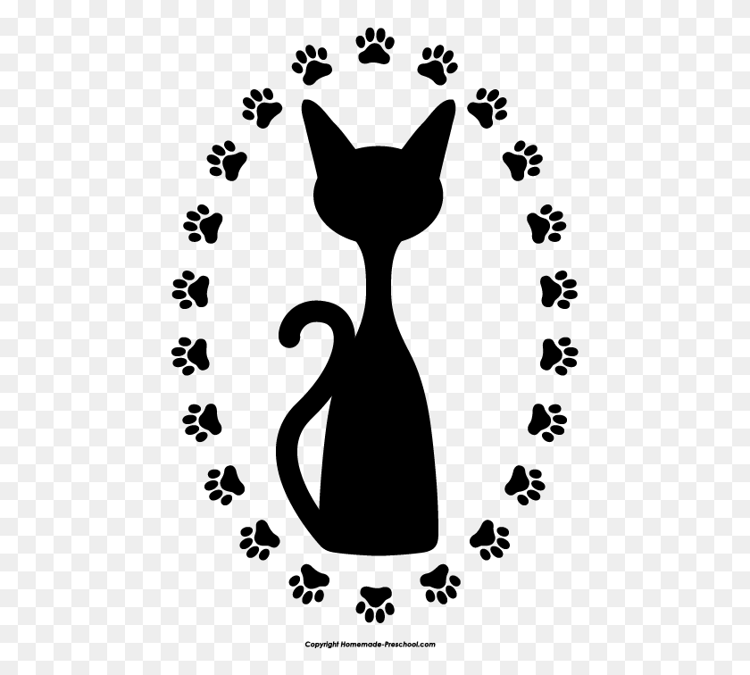 Cat Paw Print Clip Art - Cat And Dog Clipart Black And White