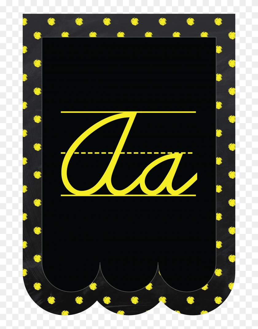 Chalkboard Bunting Banner Alphabet Polka Dot Cursive - Pennant Banner PNG