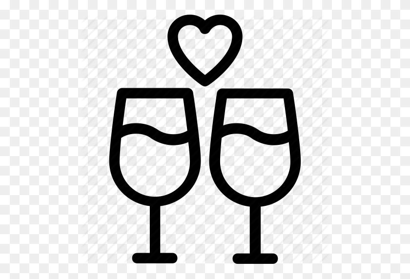 Champagne Glasses, Cheers, Glass, Heart, Wine Glass Icon - Wine Glass Cheers Clipart