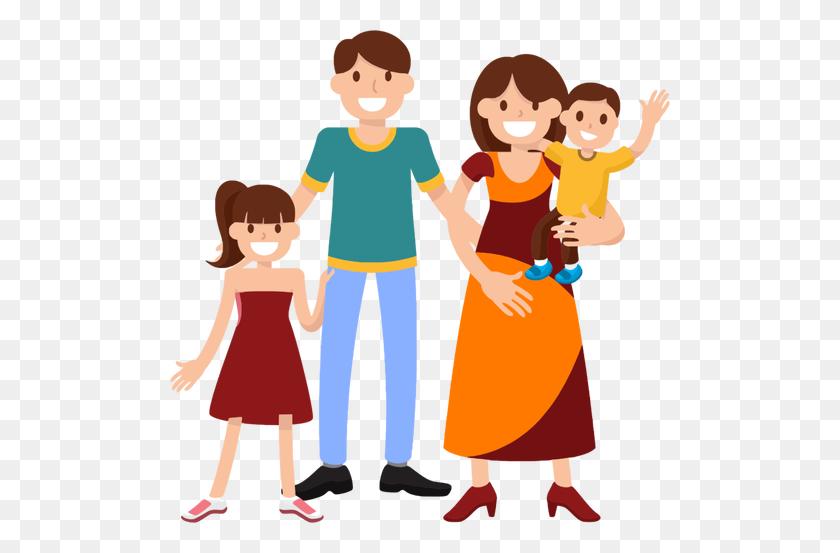 Cheerful Family Saying Goodbye - Saying Goodbye Clipart