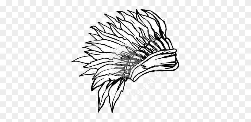Chief Headdress Black And White - Headdress Clipart