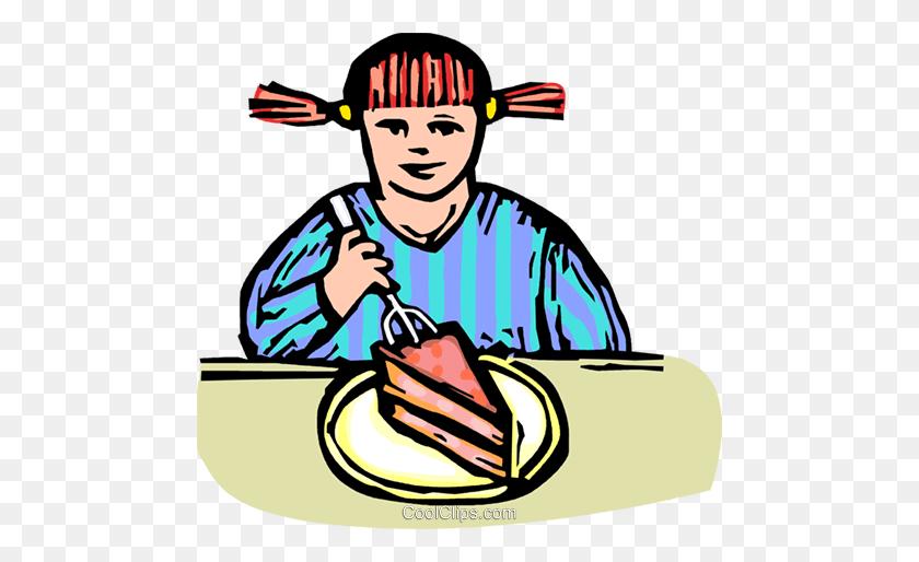 Child Eating Dessert Royalty Free Vector Clip Art Illustration - Child Eating Clipart