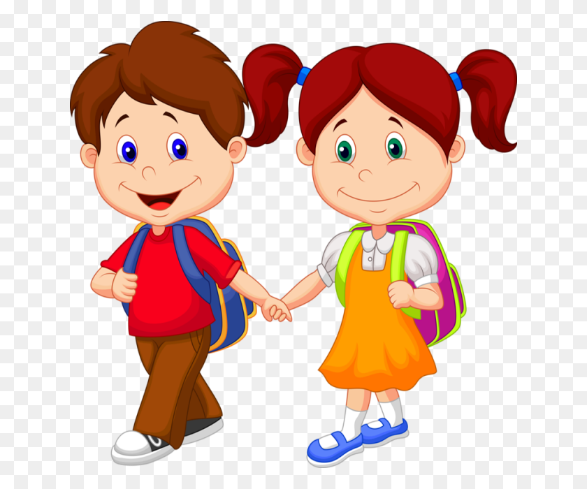 Children Attending School, Children, Cartoons, Vectors Png - School Children Clip Art