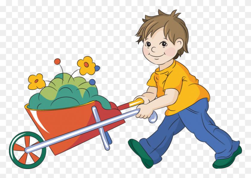 Children Gardening Clipart - Kids Gardening Clipart