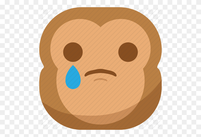 512x512 Chipms, Emoji, Emoticon, Monkey, Sad, Smiley, Tears Icon - Sad Emoji Clipart