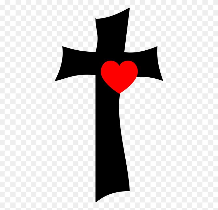419x749 Christian Cross Heart Drawing Symbol - Sacred Heart Of Jesus Clip Art