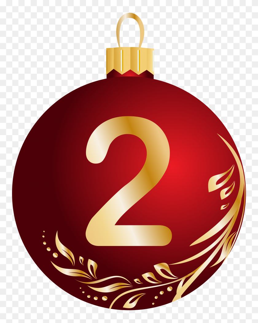 Christmas Ball Number Two Transparent Png Clip Art Image - Number 1 Clipart